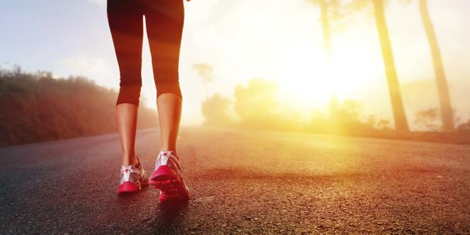 Athlete feet on road